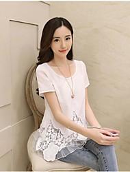 Damen Solide Einfach Lässig/Alltäglich T-shirt,Rundhalsausschnitt Sommer Kurzarm Rosa / Weiß Dünn
