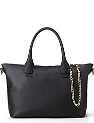 Mefas Women's Korean Style Chain  Leather Shoulder Bag/Messenger Bag(Black)