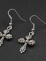 Punk Leaf Cross Silver Alloy Earrings(1 Pair)