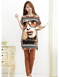 Women's Print T-shirt , Round Neck Short Sleeve