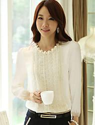 Korean Shirt di colore solido del merletto Moda Donna Regina (bianco)
