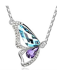 Collar de cristal Mengguang Women'sDiamond ala de la mariposa