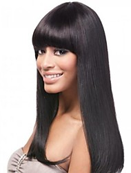 16inch Neat bang 100% Indian Human Hair Silky Straight Glueless Front Lace Wig for Black Women