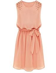 Women's Cute Dress Above Knee Sleeveless Pink Spring / Summer / Fall
