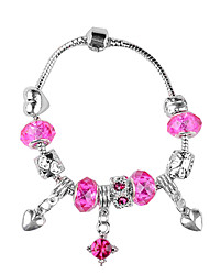 Heart-Shaped Drop Pink Beads Charm Bracelet