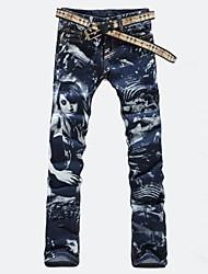 Men's Fashion Beauty Print Denim Jeans