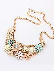 Women's Korean version of sweet little fresh flowers metal necklace