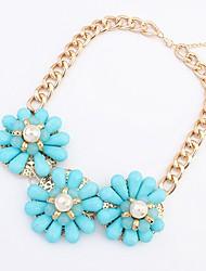 Maki Flower Exaggerate Fresh Blue Necklace