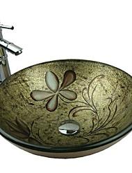 Égoutter Up et anneau de montage - Golden ronde en verre trempé Évier avec robinet en bambou, Pop