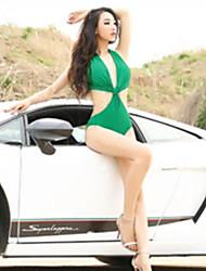 Mujeres Verde cuello en V profundo atractivo del halter del traje de baño de una pieza