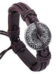 Vintage Chinese Code 24cm Men's Brown Leather Vintage Bracelet(Brown)(1 Pc) Christmas Gifts