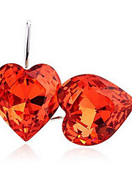 Mengguang Women's Heart Pattern Crystal Earrings