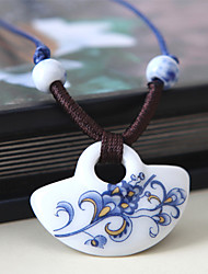 Blue and white Jingdezhen Ceramic Hand Appliqued Pendant Necklace(White)