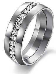 Мода Одноместный Блестящий Алмаз Гладкий Титан Мужская стали одной Кольцо