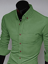 Aowofs Men's Solid Color Sheath Long Sleeve Shirt 7602 green