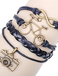 Women's Vintage Multideck Bicycle Camera Braided Bracelet