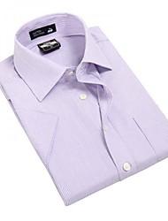 Turn-down Collar U-requin hommes d'affaires manches courtes Modal Fibre shirts Violet rayé mince Blouse Top EOZY MD-005