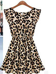 BAD GIRL sin mangas caliente de cuello redondo delgado del patrón del leopardo del vestido