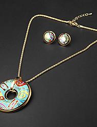 plateado circular multicolor patrón irregular de época de oro (collares&pendientes) sistemas de la joyería