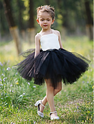 Ball Gown Short / Mini Flower Girl Dress - Satin / Tulle Sleeveless Straps with Lace