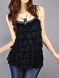 Women's Solid Black/Pink/Red/White/Yellow Vest Sleeveless Ruffle/Lace/Layered