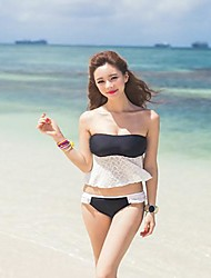 Mulheres plissadas acolchoado Bandeau Bikini Set Swimsuit