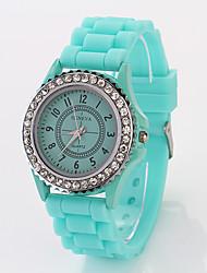 cdong montre de silicone de diamant de mode (menthe verte)
