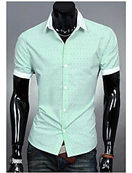 Men's Solid Casual Shirt,Cotton Short Sleeve Green / Orange / Pink / White