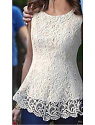 BZ Damenmode Süße elegante Spitze Kurzarm-Weste-Kleid (weiß)