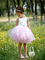 Ball Gown Knee-length Flower Girl Dress - Satin / Tulle Sleeveless Halter with