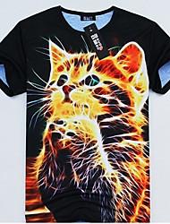 GEXY los hombres de Stereo Wild Pretty gato imprime la camiseta europea y americana 3D
