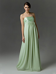 Lanting Empire Strapless Floor-length Chiffon And Charmeuse Bridesmaid/Wedding Party Dress
