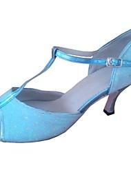 Zapatos de baile (Azul) - Danza latina Tacón Personalizado