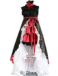 Vocaloid Hatsune Miku Black & Red Satin Cosplay Costume