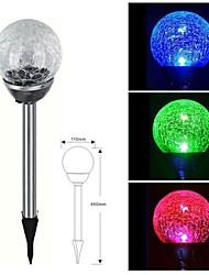 1-LED de aço inoxidável Solar Cor Mudar Stake Crackle da bola de vidro Luz Luz de gramado