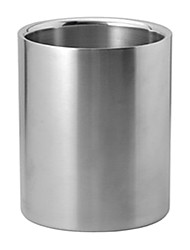 "Straight Double Layer Ice Bucket, Stainless Steel, W6"" x L6"" x H7.8"""
