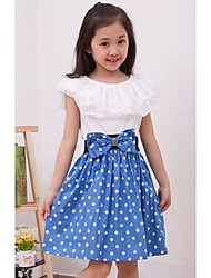 Mode belle robe bowknot de point de vague de fille Abby