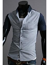 Debe Men's Korean Style Contrast Color Check Shirt
