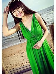 Le soleil Bohemia ChiffonFloral Imprimir BeachLong Dress (verde)