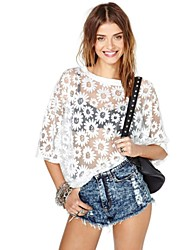 Women's Casual/Daily Sexy Spring / Summer Blouse,Print Crew Neck ¾ Sleeve White Sheer / Thin