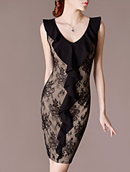 LIFVER® Women's V Neck Sleeveless Ruffle Bodycon Dress(khaki) - F14