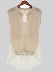 Women's Round Casual Shirts , Chiffon Casual Short Sleeve SIJIA