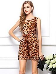 Leoparddruck sleeveless silk plus Größe Kleid der Frauen