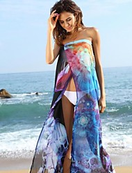 Blue Floral Print Beach Resort Wrapped Body Veil Maxi Dress