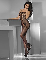 Women's One Piece Packed in a Box Sexy Floral Lace Keyhole Crotch Bodystocking with Pearls Nightwear