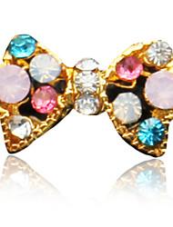 10PCS Ouro bowknot design colorido enchido diamante Decorações Nail Art