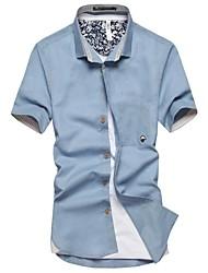 Homens Revers Formals manga curta Hemp Pequeno Cogumelo Pure shirt