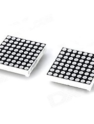 Plastic 24pin 8 x 8 LED Red / Green Light Matrix Modules - Black + White (2 PCS)
