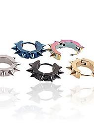 Lureme®316L Surgical Titanium Steel Electroplating Sharp Circle Single Earring (Random Color)