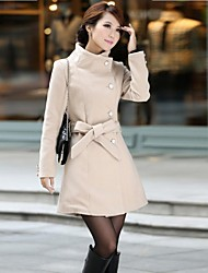 Women's Black/Beige/Gray Trench Coat , Vintage/Bodycon/Casual/Cute/Party/Work Long Sleeve Wool